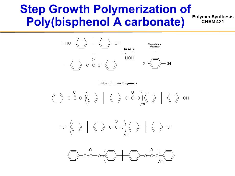 Polymer Synthesis CHEM 421 Step Growth Polymerization of Poly(bisphenol A carbonate)