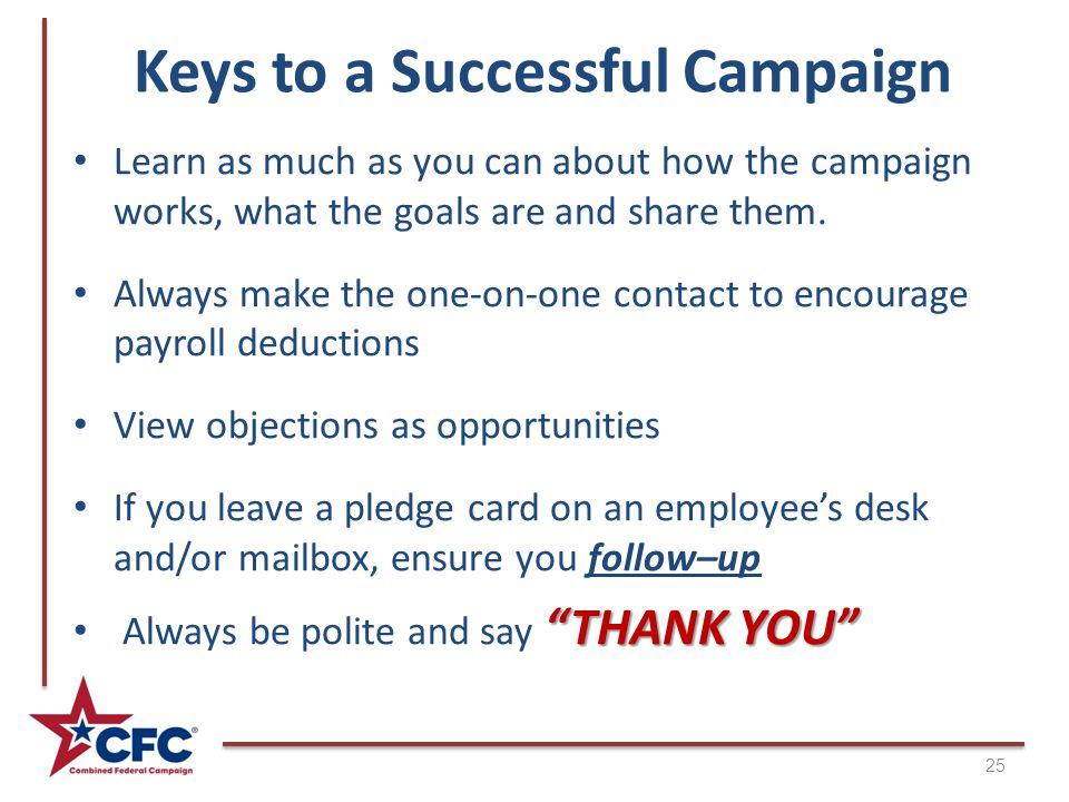 Keys to a Successful Campaign Learn as much as you can about how the campaign works, what the goals are and share them.