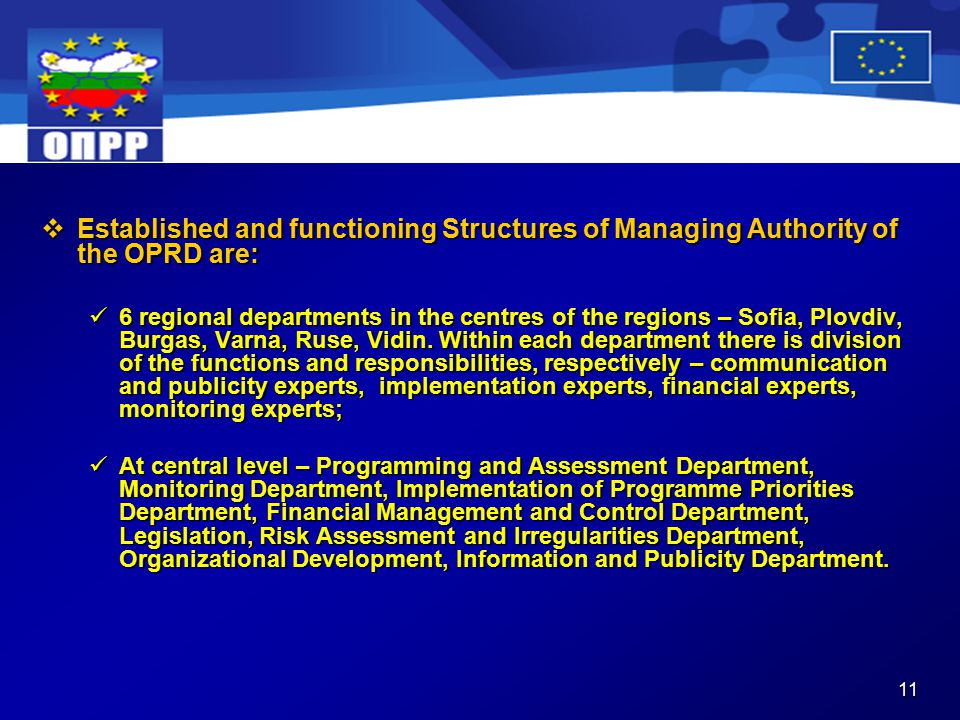 11  Established and functioning Structures of Managing Authority of the OPRD are: 6 regional departments in the centres of the regions – Sofia, Plovdiv, Burgas, Varna, Ruse, Vidin.
