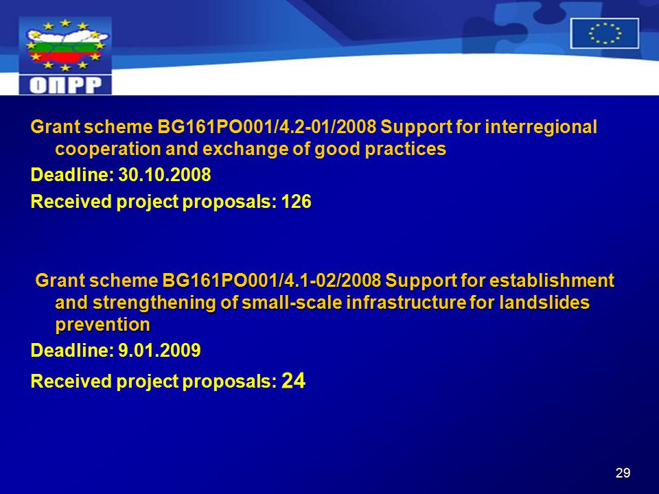 29 Grant scheme BG161PO001/4.2-01/2008 Support for interregional cooperation and exchange of good practices Deadline: Received project proposals: 126 BG161PO001/4.1-02/2008 Support for establishment and strengthening of small-scale infrastructure for landslides prevention Grant scheme BG161PO001/4.1-02/2008 Support for establishment and strengthening of small-scale infrastructure for landslides prevention Deadline: Received project proposals: 24