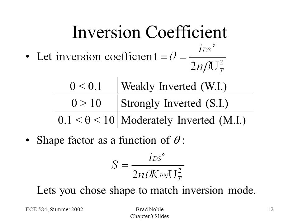 12ECE 584, Summer 2002Brad Noble Chapter 3 Slides Inversion Coefficient Let Shape factor as a function of  : Lets you chose shape to match inversion mode.