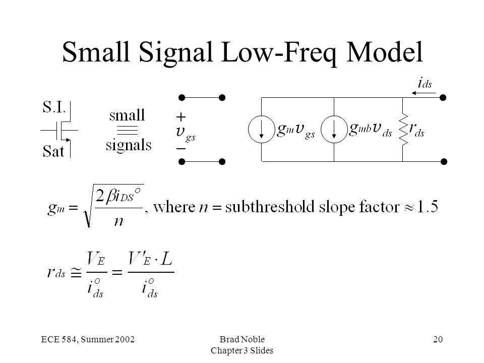 20ECE 584, Summer 2002Brad Noble Chapter 3 Slides Small Signal Low-Freq Model