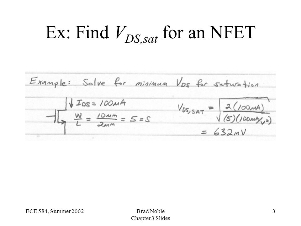 3ECE 584, Summer 2002Brad Noble Chapter 3 Slides Ex: Find V DS,sat for an NFET