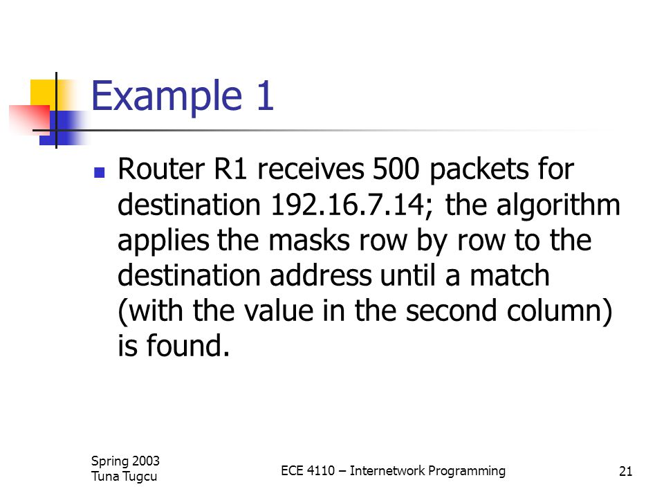 Spring 2003 Tuna Tugcu ECE 4110 – Internetwork Programming 21 Example 1 Router R1 receives 500 packets for destination ; the algorithm applies the masks row by row to the destination address until a match (with the value in the second column) is found.