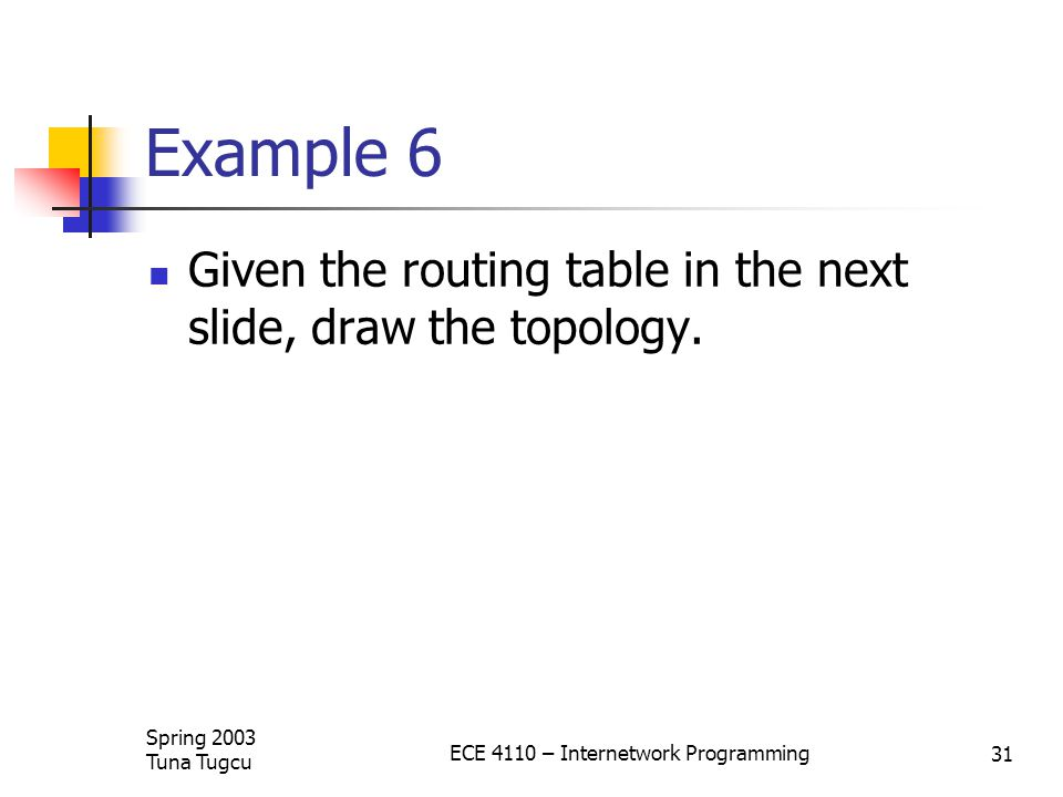 Spring 2003 Tuna Tugcu ECE 4110 – Internetwork Programming 31 Example 6 Given the routing table in the next slide, draw the topology.