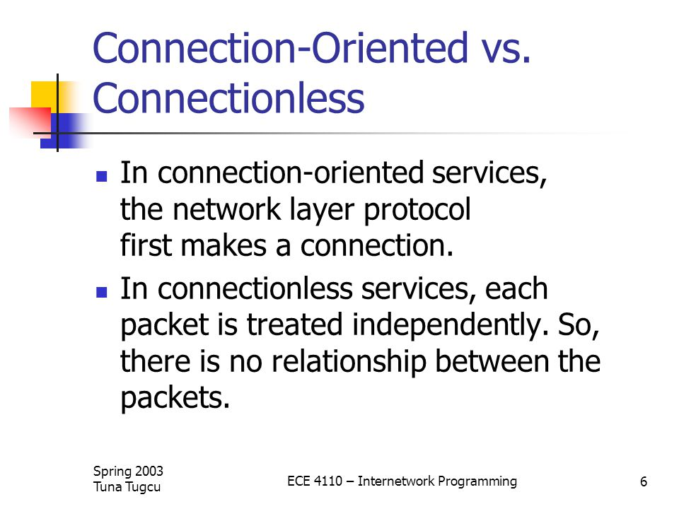 Spring 2003 Tuna Tugcu ECE 4110 – Internetwork Programming 6 Connection-Oriented vs.