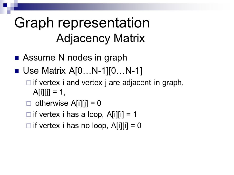 Graph representation Adjacency Matrix Assume N nodes in graph Use Matrix A[0…N-1][0…N-1]  if vertex i and vertex j are adjacent in graph, A[i][j] = 1,  otherwise A[i][j] = 0  if vertex i has a loop, A[i][i] = 1  if vertex i has no loop, A[i][i] = 0