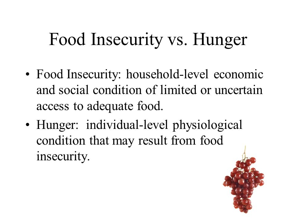 Food Insecurity vs.