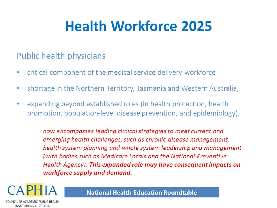 Public health physicians critical component of the medical service delivery workforce shortage in the Northern Territory, Tasmania and Western Australia, expanding beyond established roles (in health protection, health promotion, population-level disease prevention, and epidemiology).