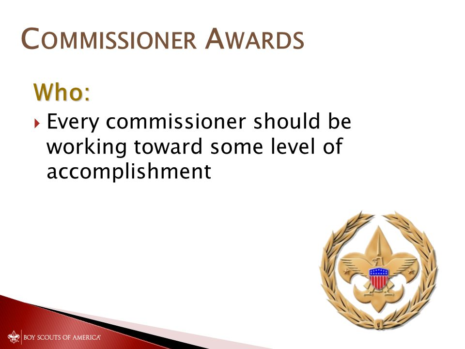 C OMMISSIONER A WARDS Who:  Every commissioner should be working toward some level of accomplishment