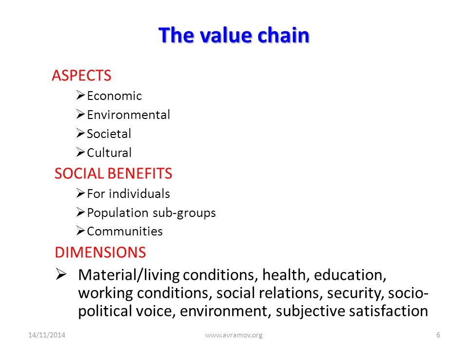 The value chain ASPECTS  Economic  Environmental  Societal  Cultural SOCIAL BENEFITS  For individuals  Population sub-groups  Communities DIMENSIONS  Material/living conditions, health, education, working conditions, social relations, security, socio- political voice, environment, subjective satisfaction 14/11/2014www.avramov.org6