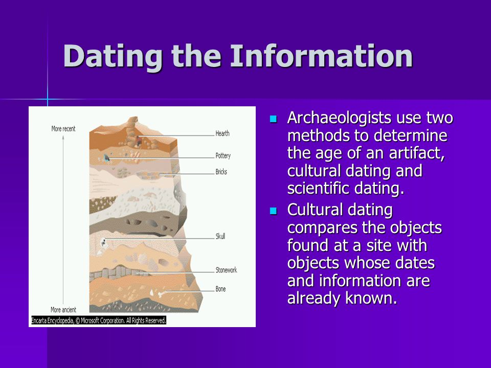 Dating the Information Archaeologists use two methods to determine the age of an artifact, cultural dating and scientific dating.