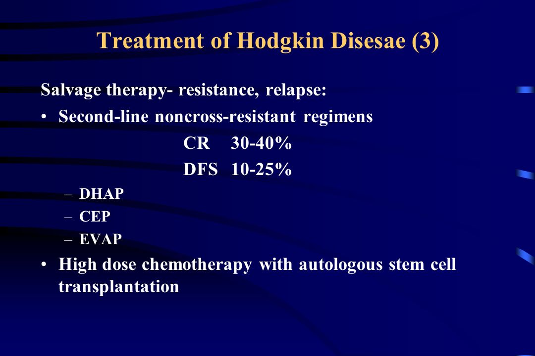 Treatment of Hodgkin Disesae (3) Salvage therapy- resistance, relapse: Second-line noncross-resistant regimens CR 30-40% DFS10-25% –DHAP –CEP –EVAP High dose chemotherapy with autologous stem cell transplantation