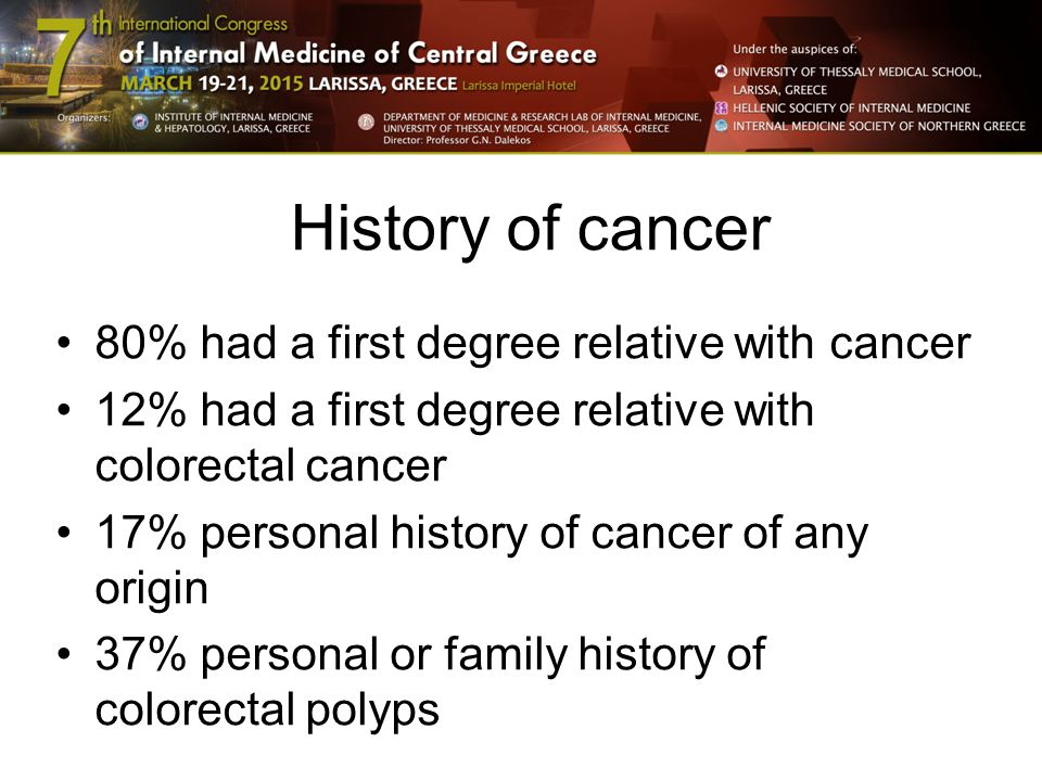 History of cancer 80% had a first degree relative with cancer 12% had a first degree relative with colorectal cancer 17% personal history of cancer of any origin 37% personal or family history of colorectal polyps