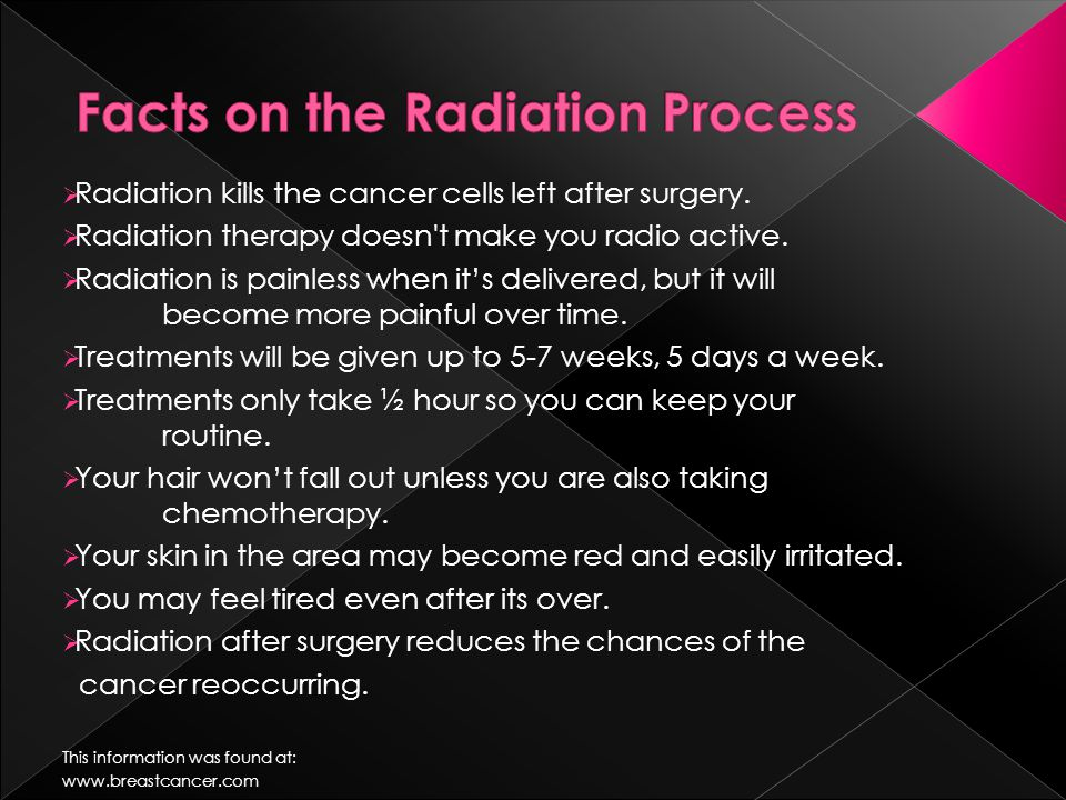  Radiation kills the cancer cells left after surgery.