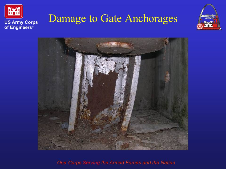 One Corps Serving the Armed Forces and the Nation Damage to Gate Anchorages