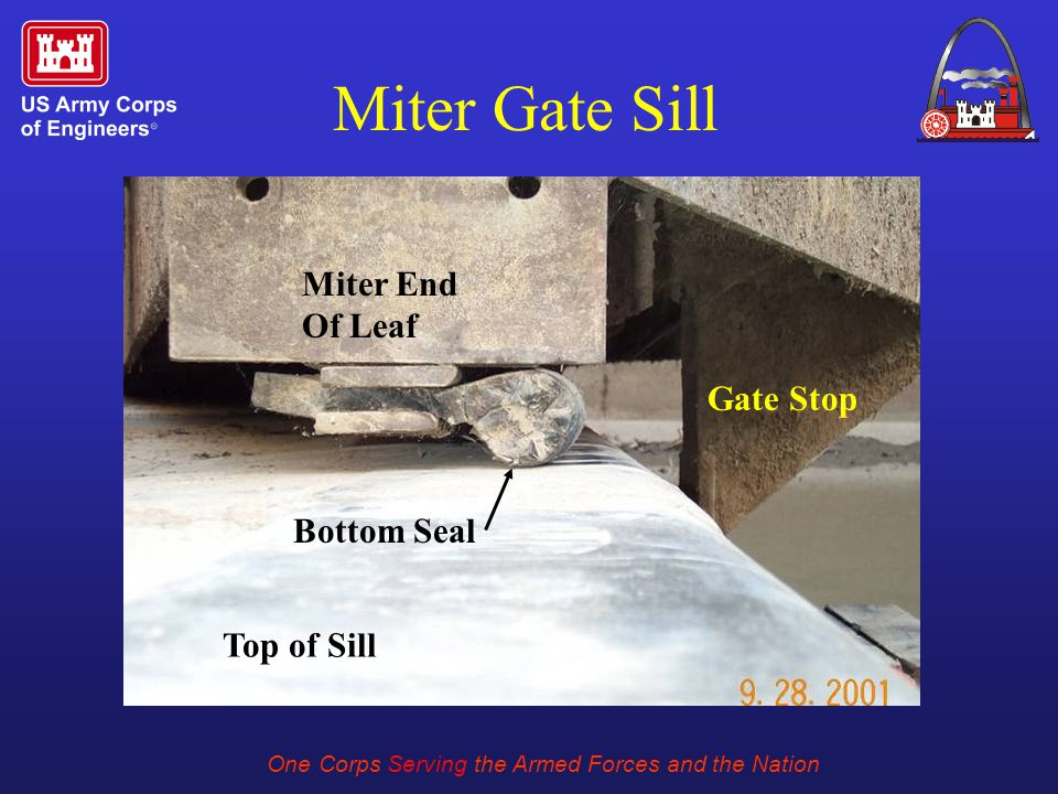 One Corps Serving the Armed Forces and the Nation Miter Gate Sill Gate Stop Bottom Seal Miter End Of Leaf Top of Sill