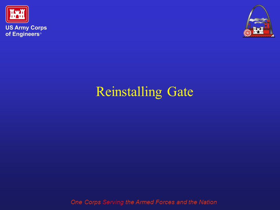 One Corps Serving the Armed Forces and the Nation Reinstalling Gate