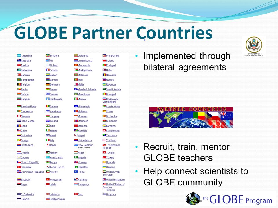 GLOBE Partner Countries Implemented through bilateral agreements Recruit, train, mentor GLOBE teachers Help connect scientists to GLOBE community
