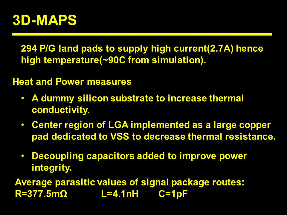 3D-MAPS Heat and Power measures 294 P/G land pads to supply high current(2.7A) hence high temperature(~90C from simulation).