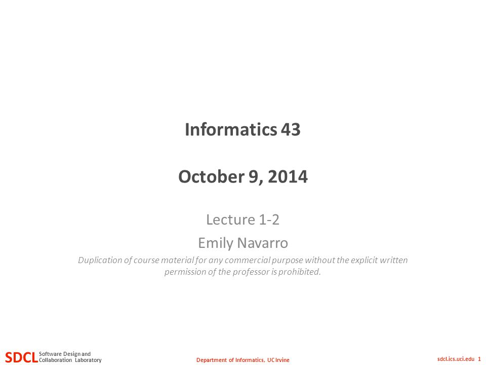 department of informatics, uc irvine sdcl collaboration laboratory, Presentation templates