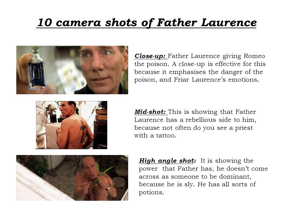 10 camera shots of Father Laurence Close-up: Father Laurence giving Romeo the poison.