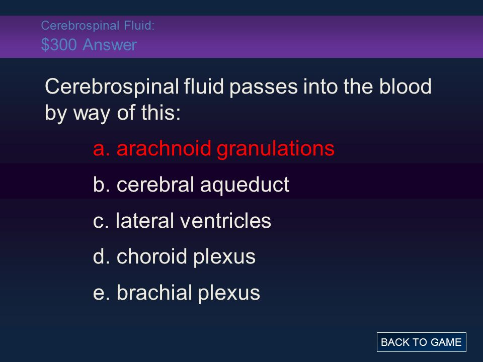 Cerebrospinal Fluid: $300 Answer Cerebrospinal fluid passes into the blood by way of this: a.