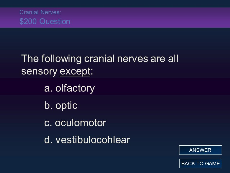 Cranial Nerves: $200 Question The following cranial nerves are all sensory except: a.