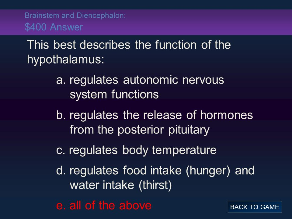 Brainstem and Diencephalon: $400 Answer This best describes the function of the hypothalamus: a.
