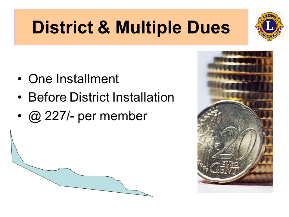 District & Multiple Dues One Installment Before District 227/- per member