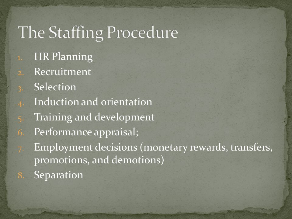 1. HR Planning 2. Recruitment 3. Selection 4. Induction and orientation 5.