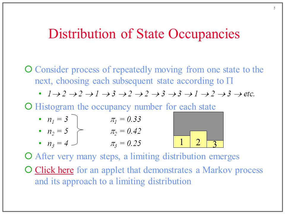 5 Distribution of State Occupancies  Consider process of repeatedly moving from one state to the next, choosing each subsequent state according to  1  2  2  1  3  2  2  3  3  1  2  3  etc.