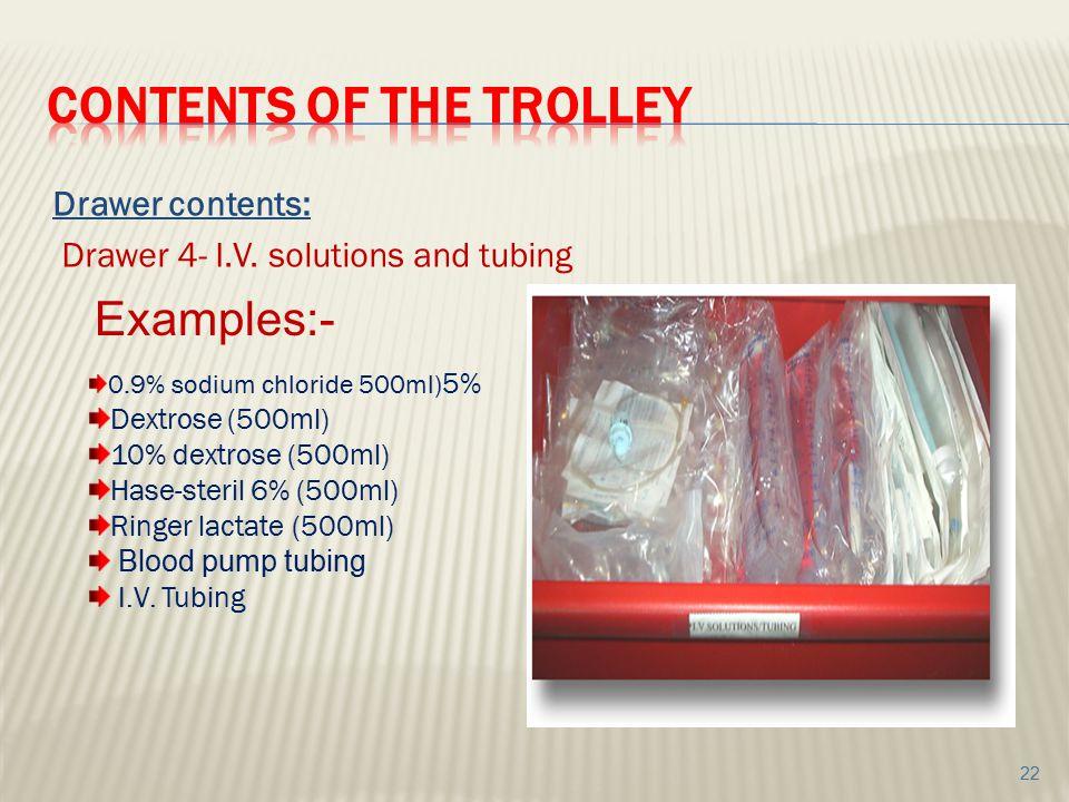Drawer contents: Drawer 4- I.V. solutions and tubing 0.9% sodium chloride 500ml) 5% Dextrose (500ml) 10% dextrose (500ml) Hase-steril 6% (500ml) Ringe