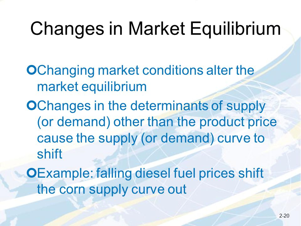 Changes in Market Equilibrium Changing market conditions alter the market equilibrium Changes in the determinants of supply (or demand) other than the product price cause the supply (or demand) curve to shift Example: falling diesel fuel prices shift the corn supply curve out 2-20
