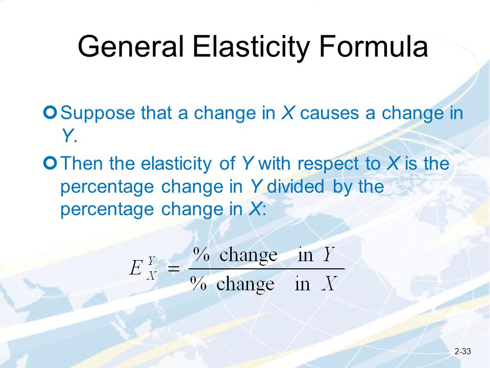 General Elasticity Formula Suppose that a change in X causes a change in Y.