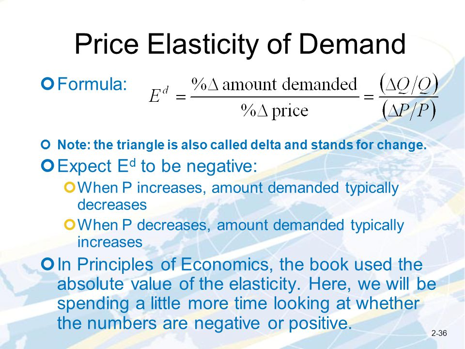 Price Elasticity of Demand Formula: Note: the triangle is also called delta and stands for change.