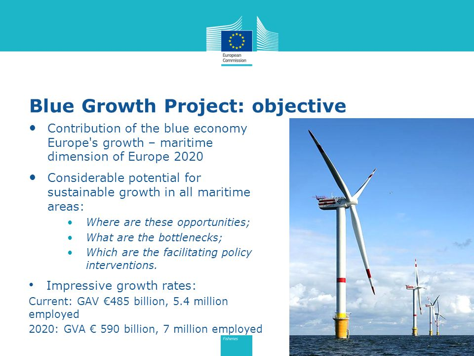 Blue Growth Project: objective Contribution of the blue economy Europe s growth – maritime dimension of Europe 2020 Considerable potential for sustainable growth in all maritime areas: Where are these opportunities; What are the bottlenecks; Which are the facilitating policy interventions.