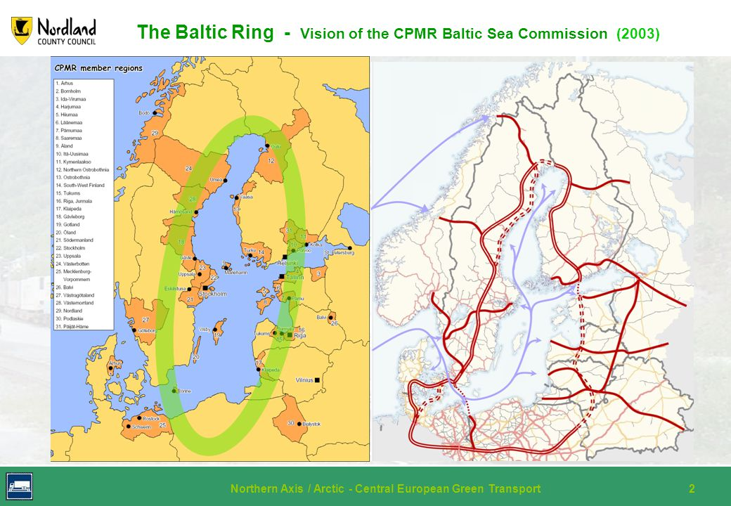 Northern Axis / Arctic - Central European Green Transport2 Historical flashback The Baltic Ring - Vision of the CPMR Baltic Sea Commission (2003)