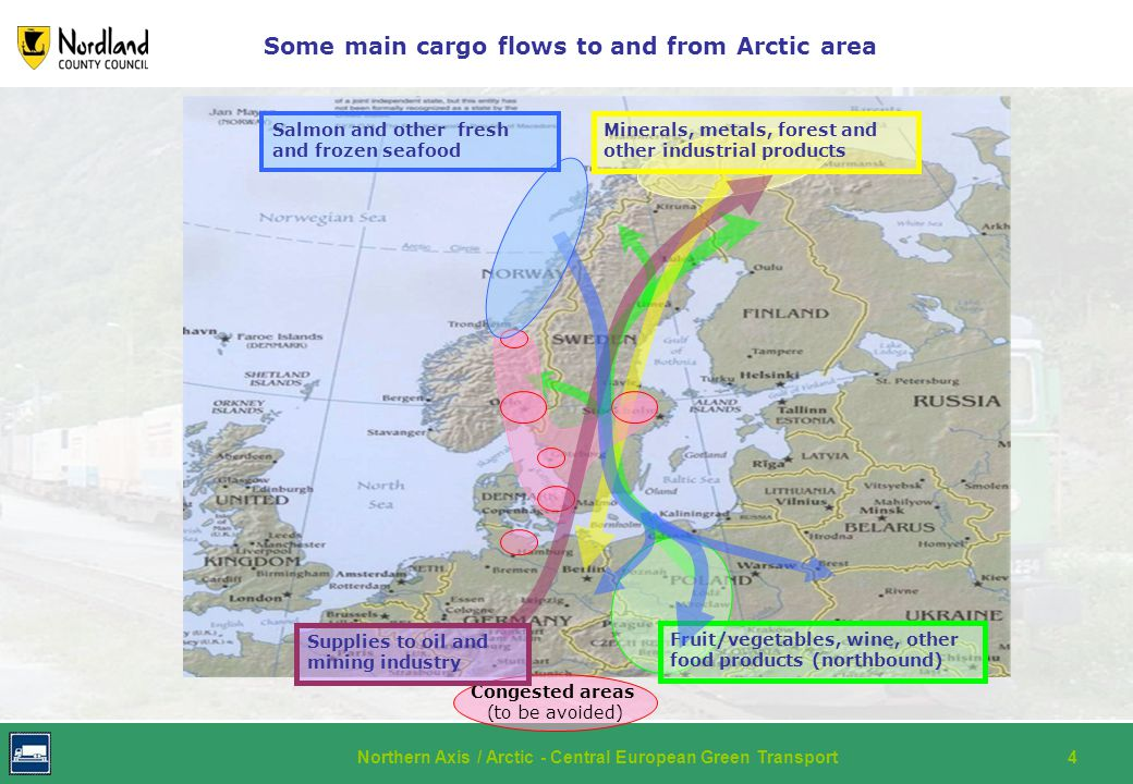 Northern Axis / Arctic - Central European Green Transport4 Some main cargo flows to and from Arctic area Fruit/vegetables, wine, other food products (northbound) Minerals, metals, forest and other industrial products Congested areas (to be avoided) Supplies to oil and mining industry Salmon and other fresh and frozen seafood