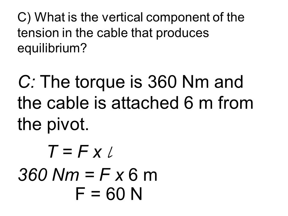 C) What is the vertical component of the tension in the cable that produces equilibrium.