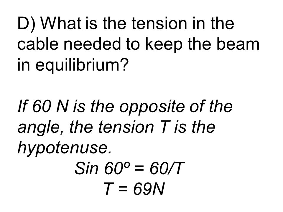 D) What is the tension in the cable needed to keep the beam in equilibrium.
