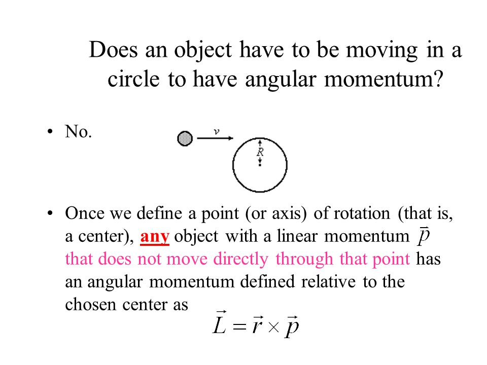 Does an object have to be moving in a circle to have angular momentum.