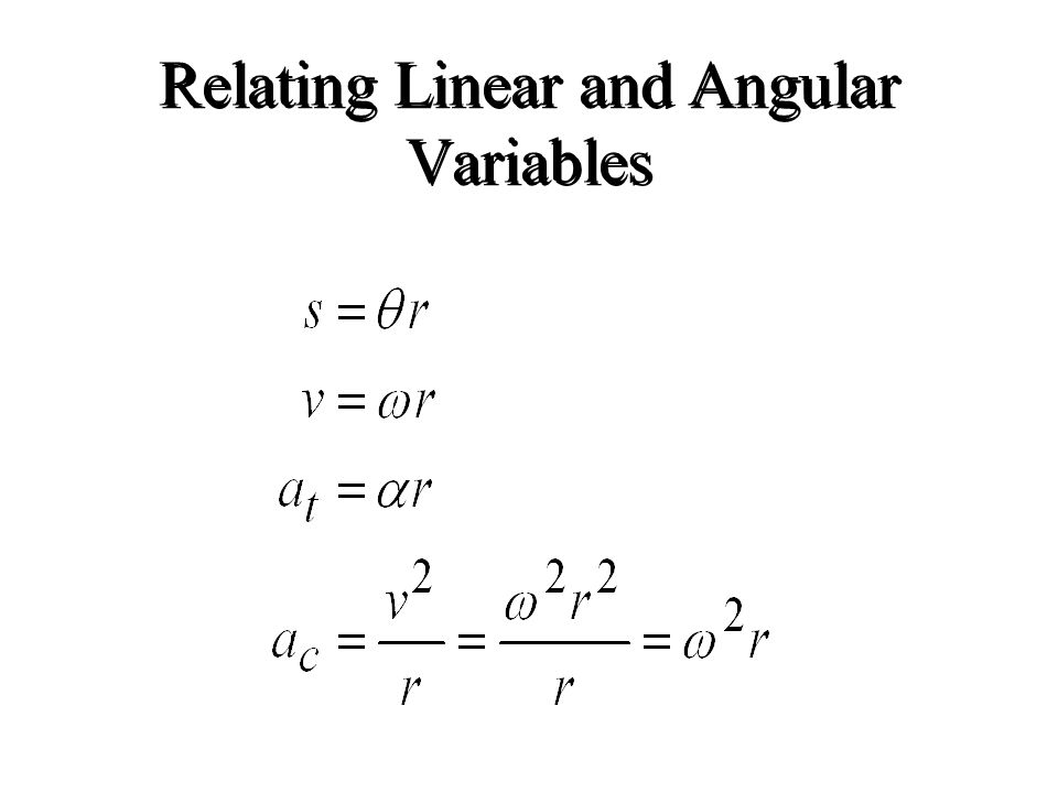 Relating Linear and Angular Variables