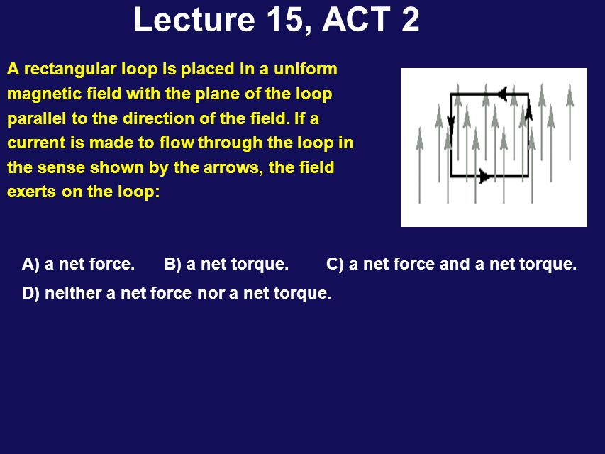 Lecture 15, ACT 2 A rectangular loop is placed in a uniform magnetic field with the plane of the loop parallel to the direction of the field.