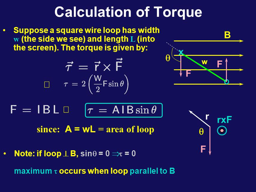 Calculation of Torque Suppose a square wire loop has width w (the side we see) and length L (into the screen).