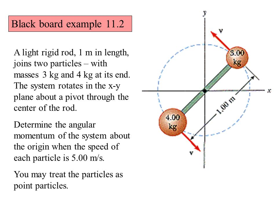 Black board example 11.2 A light rigid rod, 1 m in length, joins two particles – with masses 3 kg and 4 kg at its end.