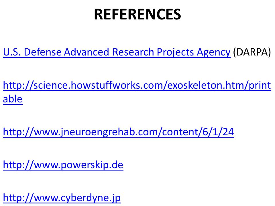REFERENCES U.S. Defense Advanced Research Projects AgencyU.S.