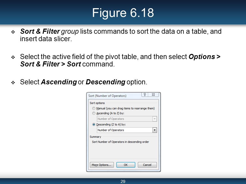 29 Figure 6.18  Sort & Filter group lists commands to sort the data on a table, and insert data slicer.
