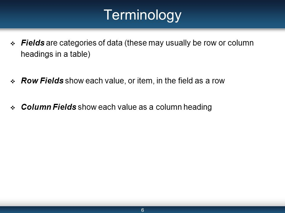 6 Terminology  Fields are categories of data (these may usually be row or column headings in a table)  Row Fields show each value, or item, in the field as a row  Column Fields show each value as a column heading