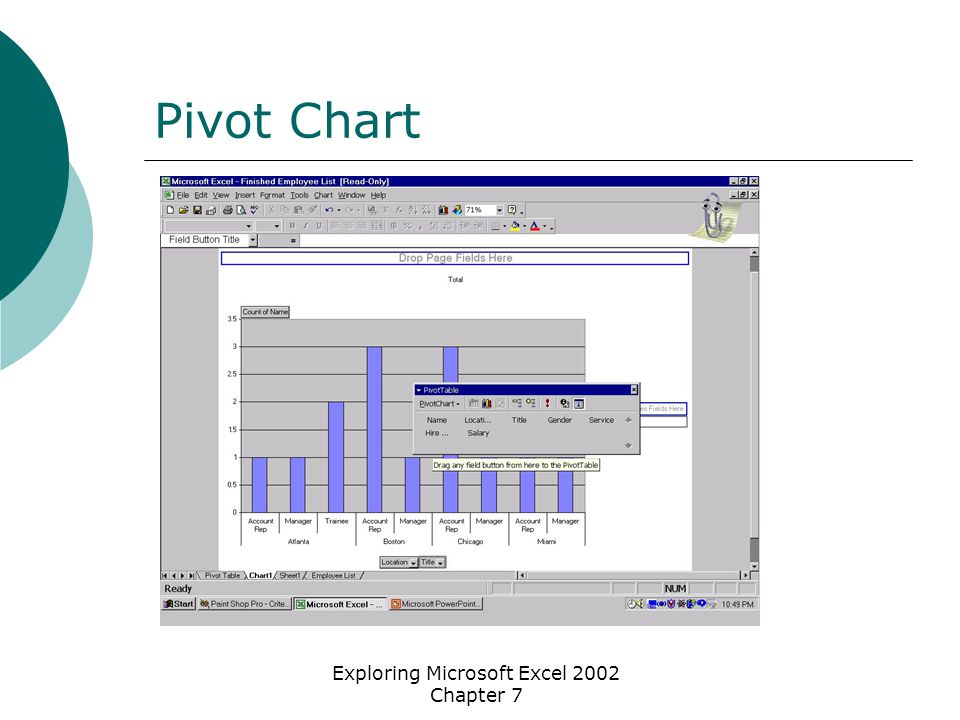 Exploring Microsoft Excel 2002 Chapter 7 Pivot Chart